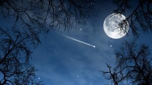 luna bella con estrellas