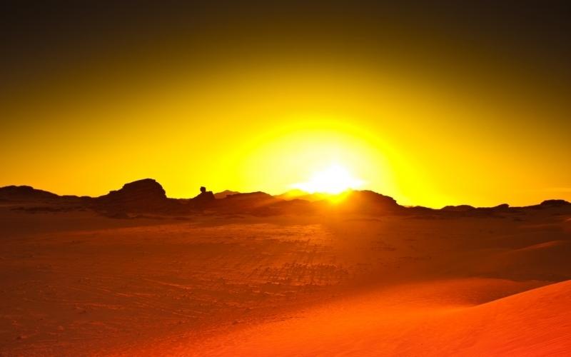 sol en desierto